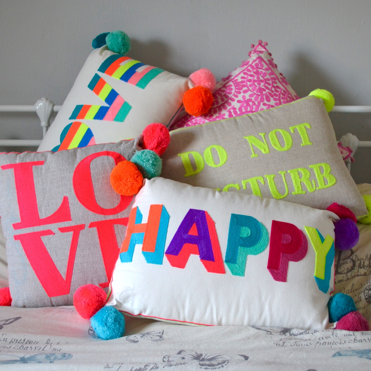bright neon cushion range from Betsy and blue boutique